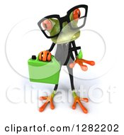 Clipart Of A 3d Bespectacled Green Business Springer Frog Catching A Drop From A Gas Can Of Biofuel Royalty Free Illustration