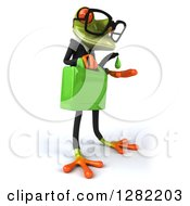 Clipart Of A 3d Bespectacled Green Business Springer Frog Facing Right And Catching A Drop From A Gas Can Of Biofuel Royalty Free Illustration