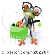 Clipart Of A 3d Bespectacled Green Business Springer Frog Holding Up A Gas Can Of Biofuel Royalty Free Illustration
