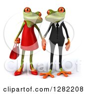 Clipart Of A 3d Dressed Up Green Springer Frog Couple Holding Hands And Gazing At Each Other Royalty Free Illustration by Julos