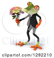 Clipart Of A 3d Green Business Springer Frog Facing Left And Holding A Flower Bouquet Royalty Free Illustration