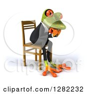Clipart Of A 3d Green Business Springer Frog Facing Right Thinking And Sitting In A Chair Royalty Free Illustration