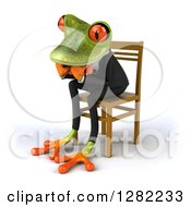 Clipart Of A 3d Green Business Springer Frog Facing Left Thinking And Sitting In A Chair Royalty Free Illustration