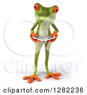 Clipart Of A 3d Green Springer Frog Reading A Book Royalty Free Illustration