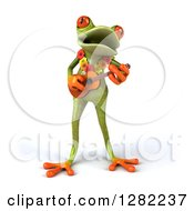 3d Green Springer Frog Musician Wearing A Lei And Playing A Ukulele