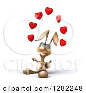 Clipart Of A 3d Brown Bunny Rabbit Wearing Sunglasses Facing Slightly Left And Juggling Hearts Royalty Free Illustration