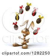 Clipart Of A 3d Brown Bunny Rabbit Facing Slightly Left And Juggling Chocolate Easter Eggs Royalty Free Illustration