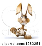 Clipart Of A 3d Brown Bunny Rabbit Walking Royalty Free Illustration