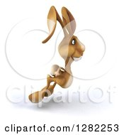 Clipart Of A 3d Brown Bunny Rabbit Hopping To The Right Royalty Free Illustration