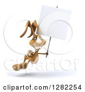 Clipart Of A 3d Brown Bunny Rabbit Hopping To The Right With A Blank Sign Royalty Free Illustration