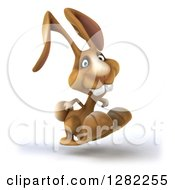 Clipart Of A 3d Brown Bunny Rabbit Smiling And Hopping To The Right Royalty Free Illustration