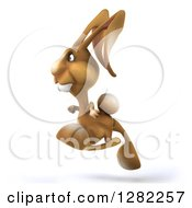 Clipart Of A 3d Brown Bunny Rabbit Hopping To The Left Royalty Free Illustration