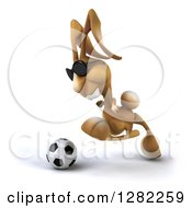 Clipart Of A 3d Brown Bunny Rabbit Wearing Sunglasses Facing Left And Playing Soccer Royalty Free Illustration