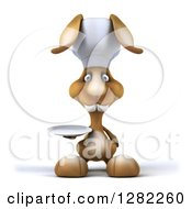 Clipart Of A 3d Brown Bunny Rabbit Chef Holding A Plate Royalty Free Illustration