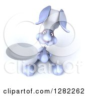 Clipart Of A 3d Blue Bunny Rabbit Chef Holding Up A Plate Royalty Free Illustration