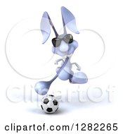 Clipart Of A 3d Blue Bunny Rabbit Wearing Sunglasses And Playing Soccer Royalty Free Illustration by Julos