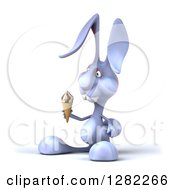 Clipart Of A 3d Blue Bunny Rabbit Facing Left And Holding A Waffle Ice Cream Cone Royalty Free Illustration by Julos