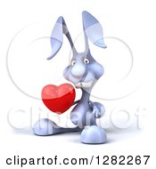 Clipart Of A 3d Blue Bunny Rabbit Holding A Love Heart Royalty Free Illustration by Julos