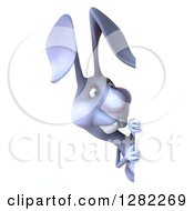 Clipart Of A 3d Blue Bunny Rabbit Looking Around A Sign Royalty Free Illustration by Julos