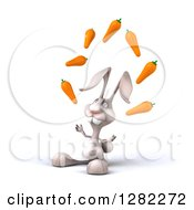Clipart Of A 3d White Bunny Rabbit Facing Left And Juggling Carrots Royalty Free Illustration by Julos