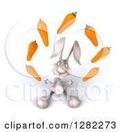 Clipart Of A 3d White Bunny Rabbit Looking Up And Juggling Carrots Royalty Free Illustration by Julos