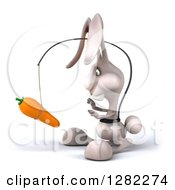 Clipart Of A 3d White Bunny Rabbit Facing Left And Chasing A Carrot On A Stick Royalty Free Illustration by Julos