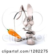 Clipart Of A 3d White Bunny Rabbit Facing Slightly Left And Chasing A Carrot On A Stick Royalty Free Illustration by Julos