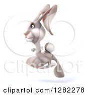 Clipart Of A 3d White Bunny Rabbit Hopping To The Left Royalty Free Illustration by Julos
