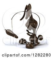 Clipart Of A 3d Dark Chocolate Easter Bunny Chasing A Carrot On A Stick Royalty Free Illustration by Julos