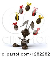 Clipart Of A 3d Dark Chocolate Easter Bunny Facing Left And Juggling Eggs Royalty Free Illustration