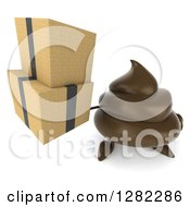 Clipart Of A 3d Milk Chocolate Or Poop Character Holding Up Boxes Royalty Free Illustration