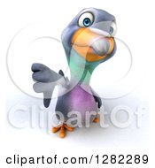 Clipart Of A 3d Unhappy Pigeon Holding Up A Thumb Down Royalty Free Illustration
