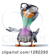 Clipart Of A 3d Bespectacled Pigeon Presenting To The Left Royalty Free Illustration