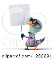 Clipart Of A 3d Pigeon Wearing Sunglasses Holding And Pointing To A Blank Sign Royalty Free Illustration