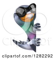 Clipart Of A 3d Pigeon Wearing Sunglasses And Looking Around A Sign Royalty Free Illustration