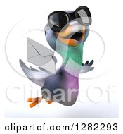 Clipart Of A 3d Pigeon Wearing Sunglasses And Flying With An Envelope Royalty Free Illustration