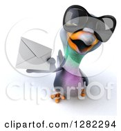 Clipart Of A 3d Pigeon Wearing Sunglasses And Holding Up An Envelope Royalty Free Illustration