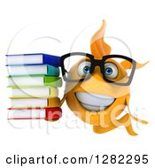 3d Happy Yellow Fish Wearing Glasses And Holding A Stack Of Books