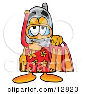 Wireless Cellular Telephone Mascot Cartoon Character In Orange And Red Snorkel Gear