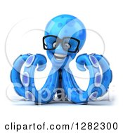 Clipart Of A 3d Bespectacled Blue Octopus Royalty Free Illustration
