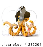 Clipart Of A 3d Happy Orange Pirate Octopus Wearing Sunglasses And Facing Slightly Left Royalty Free Illustration