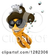 Clipart Of A 3d Happy Orange Pirate Octopus Wearing Sunglasses And Swimming Upwards Royalty Free Illustration