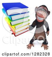 Clipart Of A 3d Chimpanzee Grinning And Holding Up A Stack Of Books Royalty Free Illustration
