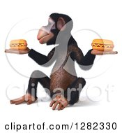Clipart Of A 3d Chimpanzee Facing Left Sitting And Holding Two Hot Dogs Royalty Free Illustration