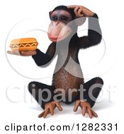 Clipart Of A 3d Thinking Chimpanzee Sitting And Holding A Hot Dog Royalty Free Illustration