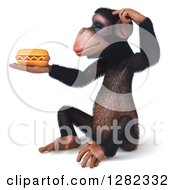 Clipart Of A 3d Thinking Chimpanzee Facing Left Sitting And Holding A Hot Dog Royalty Free Illustration