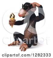 Clipart Of A 3d Thinking Chimpanzee Monkey Wearing Sunglasses Sitting Facing Left And Holding An Ice Cream Cone Royalty Free Illustration