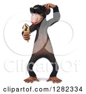 Clipart Of A 3d Thinking Chimpanzee Monkey Wearing Sunglasses And Holding An Ice Cream Cone Royalty Free Illustration