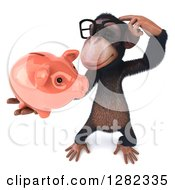 Clipart Of A 3d Bespectacled Thinking Chimpanzee Holding Up A Piggy Bank Royalty Free Illustration