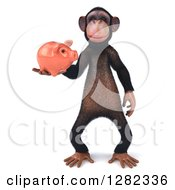 Clipart Of A 3d Chimpanzee Standing And Holding A Piggy Bank Royalty Free Illustration